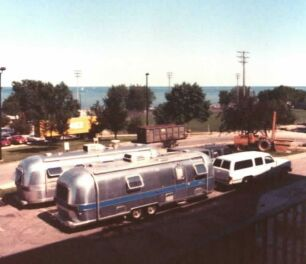 Airstream in front of Green Bay